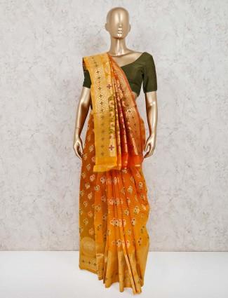 Handloom cotton silk orange saree