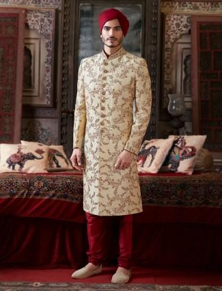 Heavy designer indowestern in beige for wedding