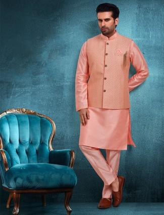 Heavy thread work peach raw silk waistcoat set