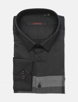 I Party black cotton slim fit shirt
