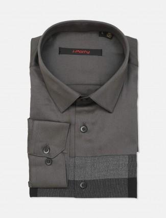 I Party dark grey solid cotton shirt