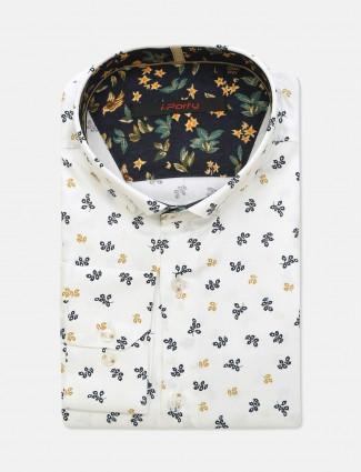 I Party slim fit white printed mens shirt
