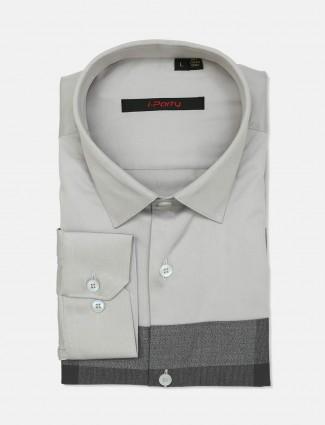 I Party solid grey cut away collar shirt