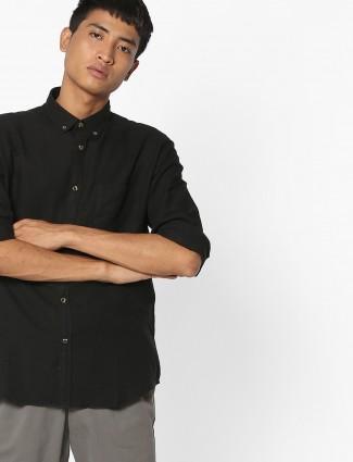 印度地形纯黑色纯棉衬衫