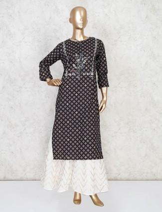 Indian block printed black sharara suit