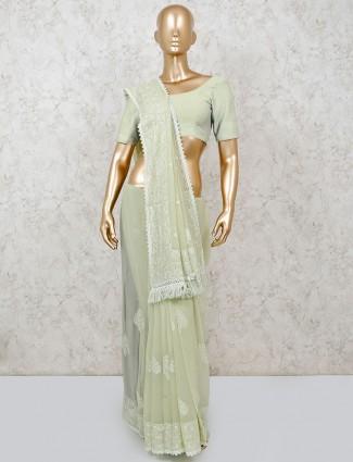 Indian light green chiffon saree