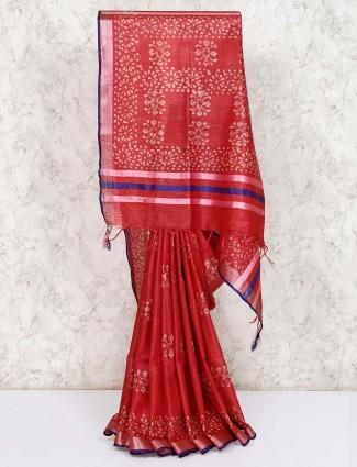 Indian maroon printed cotton saree