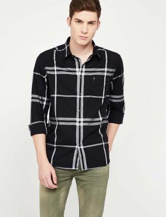 Indian Terrain黑色格纹棉质衬衫