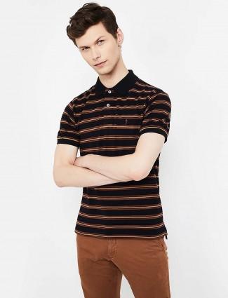 Indian Terrain black stripe casual wear t-shirt