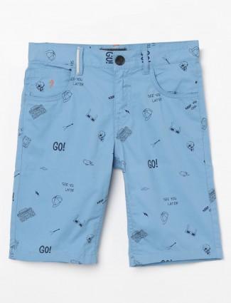 Indian Terrain blue cotton printed short
