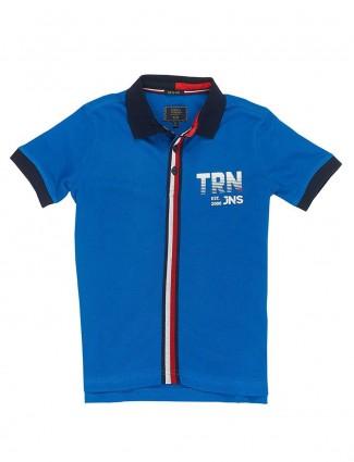 Indian Terrain blue solid cotton t-shirt