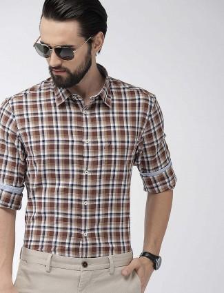 印度地形贴袋棕色格纹衬衫