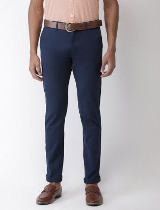 Indian Terrain solid regular blue trouser