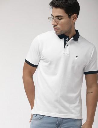 Indian Terrain solid white mens t-shirt