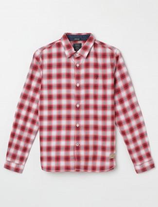 Indian Terrain white and red checks boys shirt