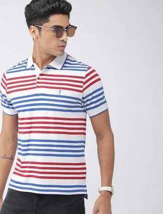 Indian Terrain white hue stripe t-shirt