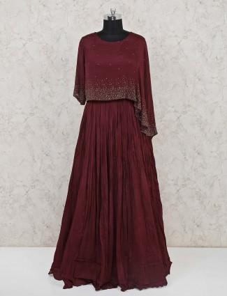 Indo western salwar suit in maroon chiffon