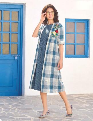 Jacket style checks pattern cotton kurti