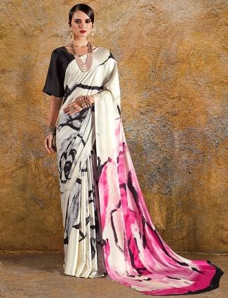Japan crepe printed festive saree in cream and magenta