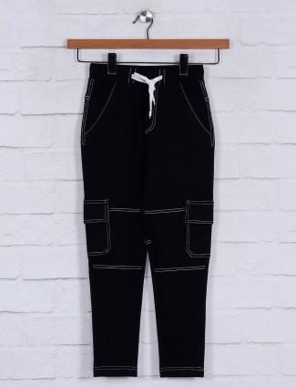 Jappkids cotton black solid track pant