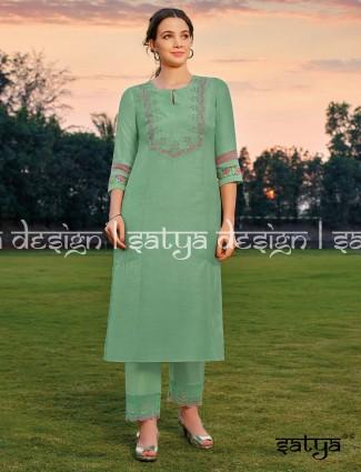 Keyhole neck pista green cotton pant set