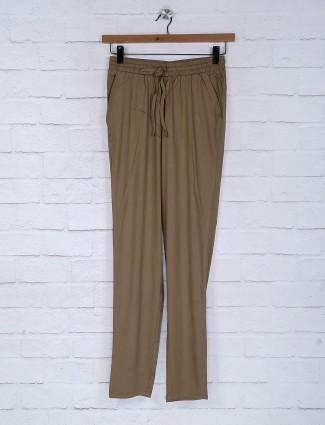 Khaki cotton fabric casual wear jeggings