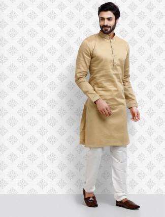 Khaki cotton solid stand collar kurta suit