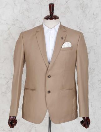 Khaki solid terry rayon party wear blazer