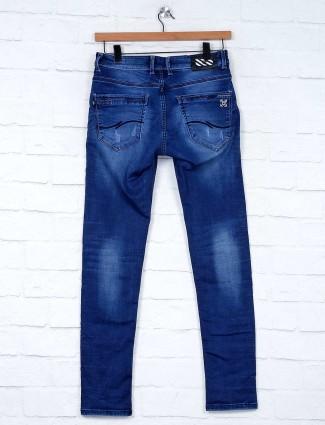 Kozzak blue washed mens stylish jeans