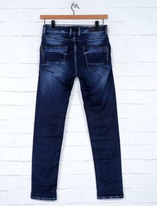 Kozzak presented washed slim fit navy jeans
