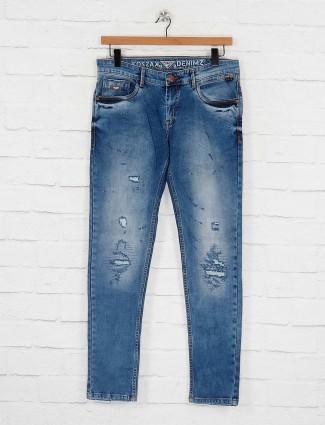 Kozzak ripped blue hued jeans