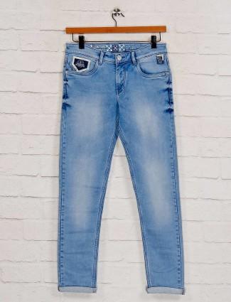 Kozzak sky blue denim washed jeans