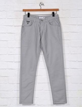 Kozzak solid ash grey denim jeans for mens