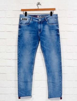Kozzak solid blue slim fit jeans