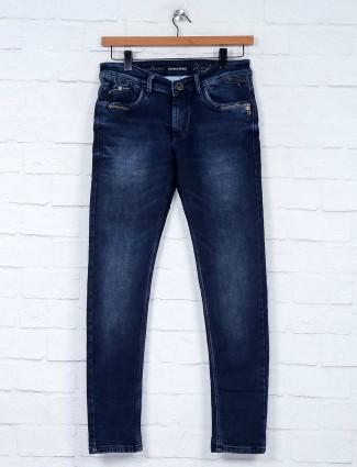 Kozzak solid navy stylish slim fit jeans