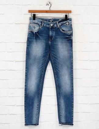 Kozzak washed effect blue colored jeans