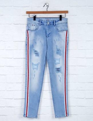 Kozzak washed effect blue jeans