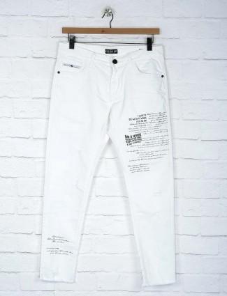 Kozzak white colored solid jeans