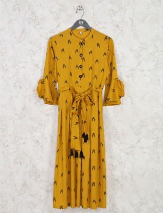 Kurti in mustard yellow printed cotton