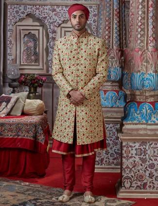 Latest beige double layer designer sherwani suit