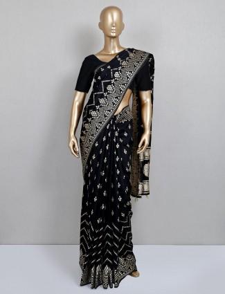 Latest black dola silk wedding saree