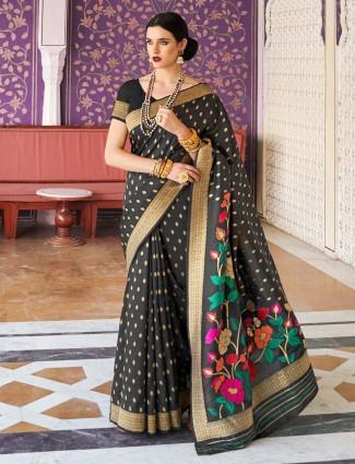 Latest Black hue handloom cotton saree