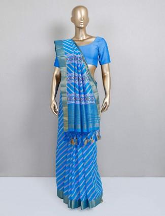 Latest blue cotton silk stripe saree for festival