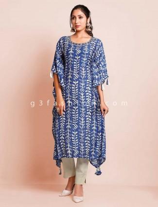 Latest blue printed cotton kurti for women