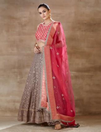 Latest brown pink lehenga choli forwedding wear