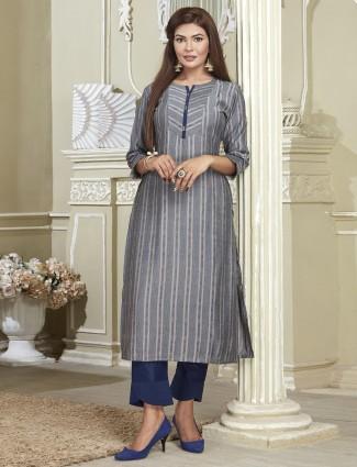 Latest cotton punjabi suit in navy blue color
