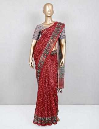 Latest cotton red festive wear saree