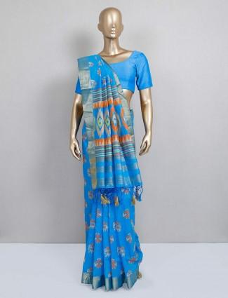 Latest cotton silk saree in sky blue color