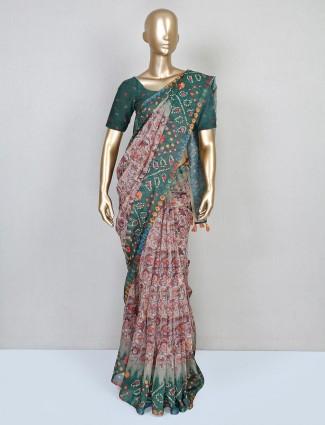 Latest cream cotton festive wear saree
