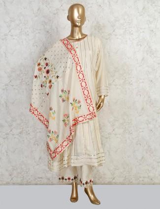 Latest cream cotton palazzo salwar kameez